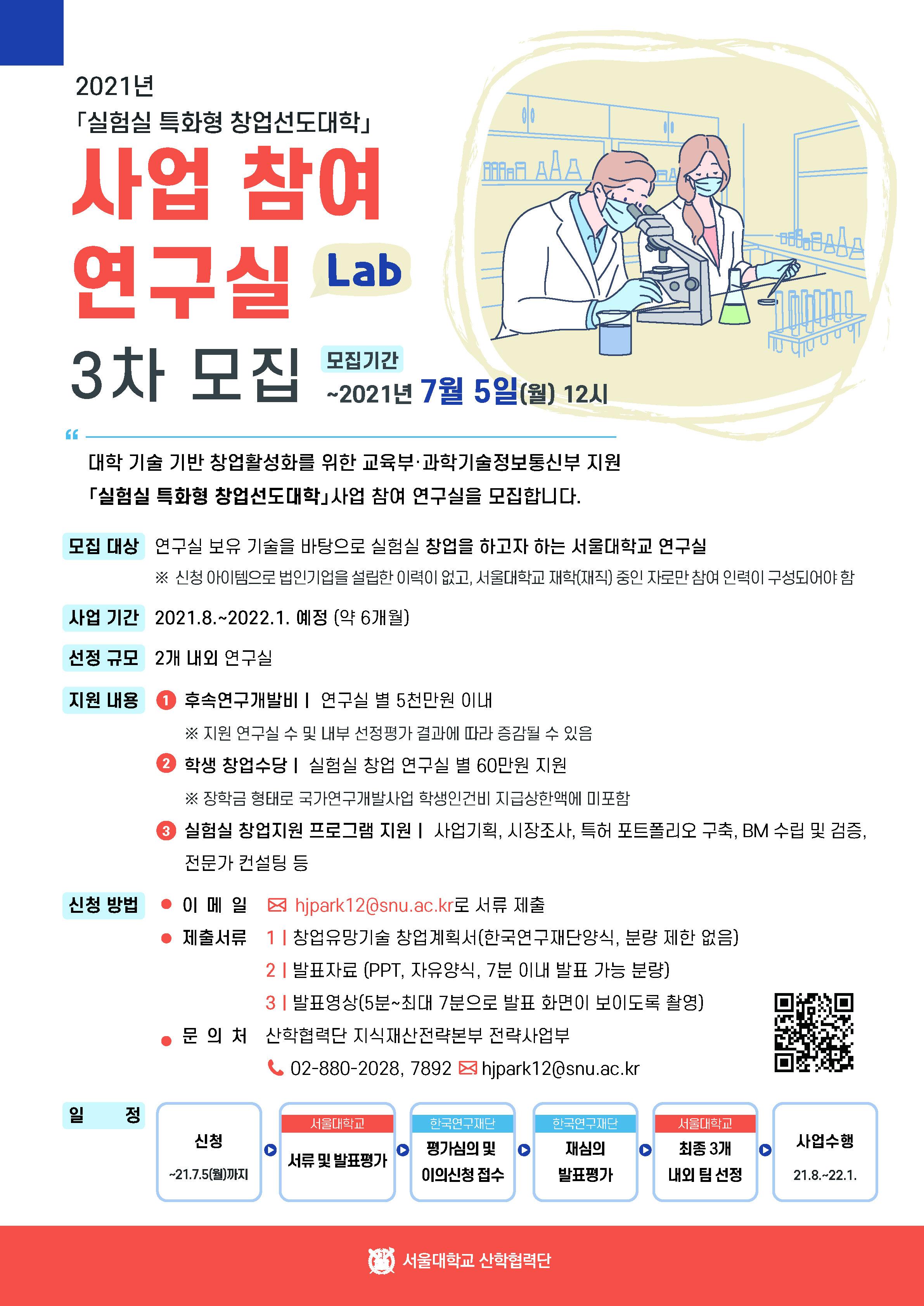 2021년도 「실험실 특화형 창업선도대학」사업 참여 연구실(Lab) 3차 모집 포스터